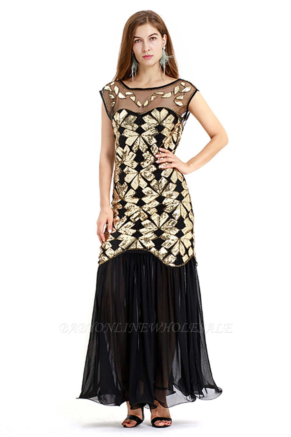 Beautiful Cap sleeves Long Black Cocktail Dresses | Shining Sequined Dress