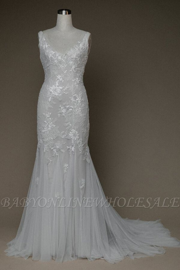 Inexpensive Appliques Mermaid Wedding Dress | Charming V-neck Long Bridal Gowns