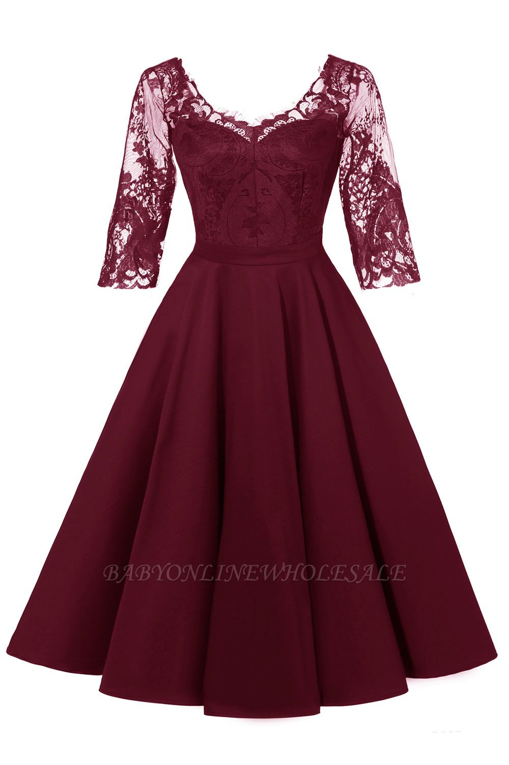 Retro Scoop neck  V-back Lace Dresses with Sleeves | A-line ruffles Burgundy Lace Cocktail Party Dresses