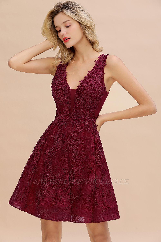 Princess V-neck Knee Length Lace Appliqued Homecoming Dresses | Burgundy Dress for Homecoming
