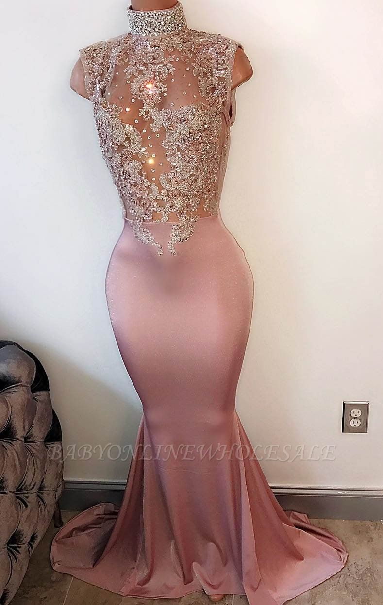 Lace-Appliques Mermaid Modest Sleeveless High-Neck Prom Dress PT201