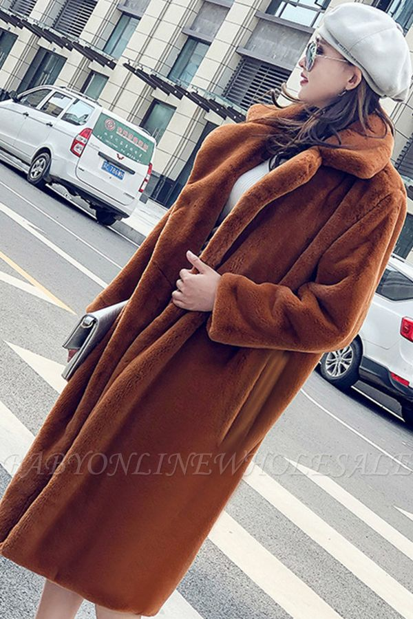 Daily Street Fashion Going out Winter Plus Size Long Faux Fur Coat | Solid Colored Long Sleeve Faux Fur Pink / Black / White