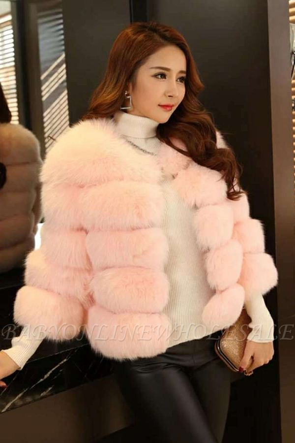 Women's Daily/Party Long Faux Fur Coat | Solid White/Pink/Ruby/Burgundy Colored Round Neck Long Sleeve Faux Fur Overcoat