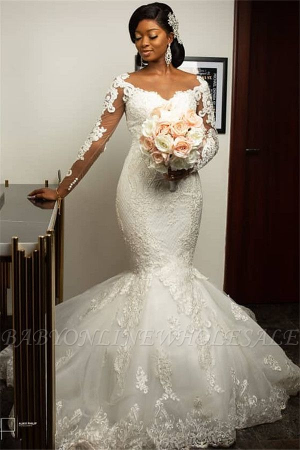 Mermaid Lace Appliques Wedding Dresses with Sleeves | Sexy Cheap Plus Size Wedding Gowns Onine