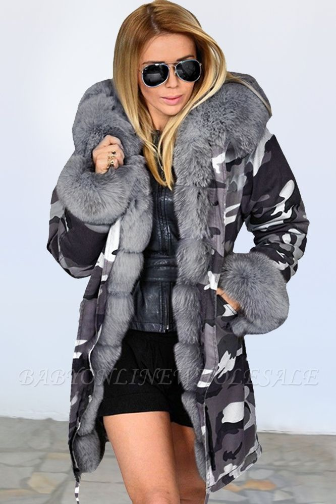 Women's Hooded Camouflage Faux Fur Fashionista Jacket | Mid-length Overcoat in Burgundy/Black/Gray Shawl Collar