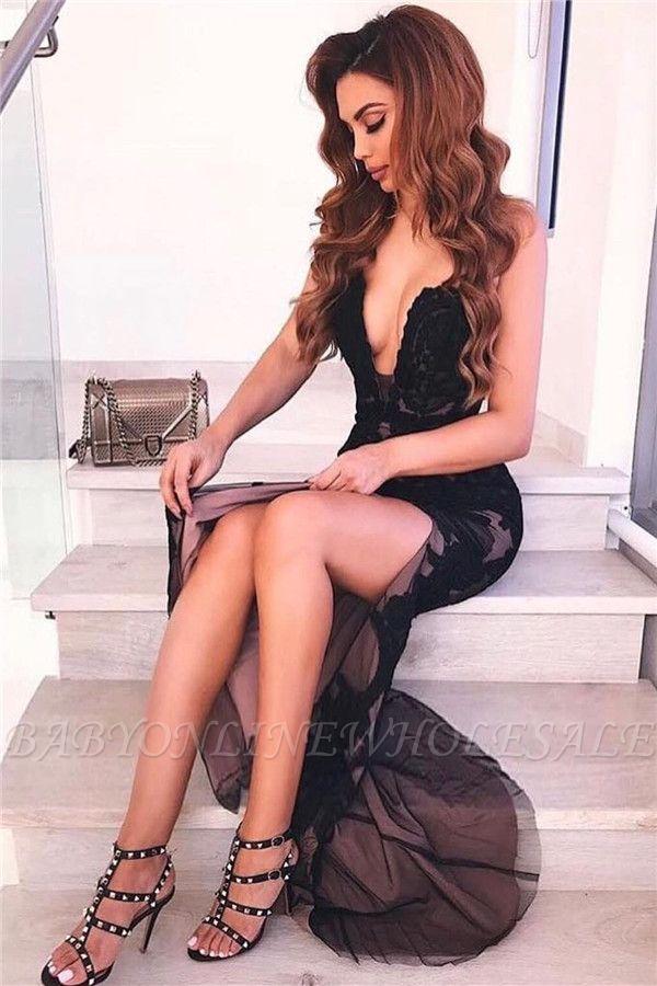 Sexy Backless Black Evening Dresses   V-neck Appliques Formal Dresses with Slit