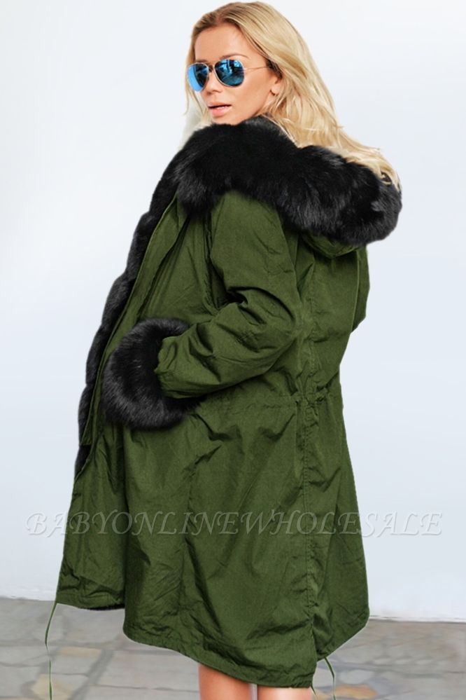 Army Green Faux Fur-trimmed long-length Coat | Classic Solid Color Winter/Fall Jacket