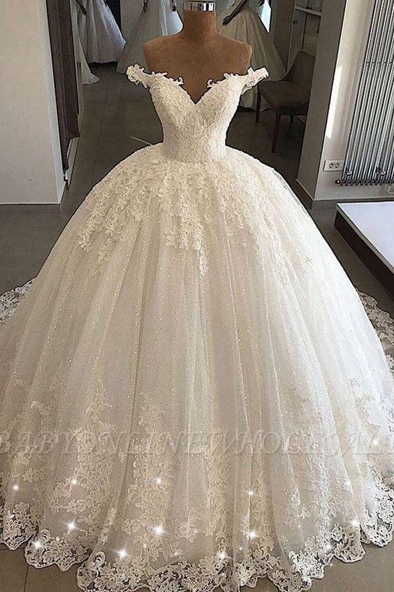 Schulterfreie Ballkleider aus Spitze | Formale Brautkleider aus Tüll