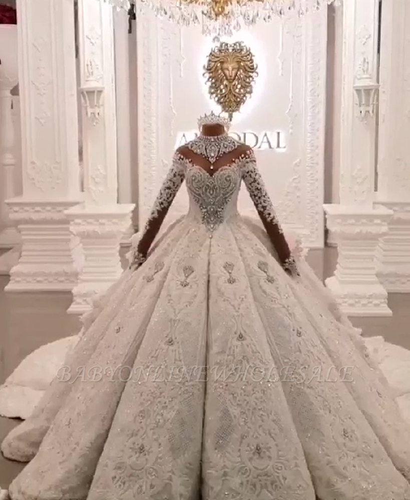 Ball Gown High Neck Luxury Train Long Sleeves Sparkle Applique Satin Wedding Dresses Babyonlinewholesale