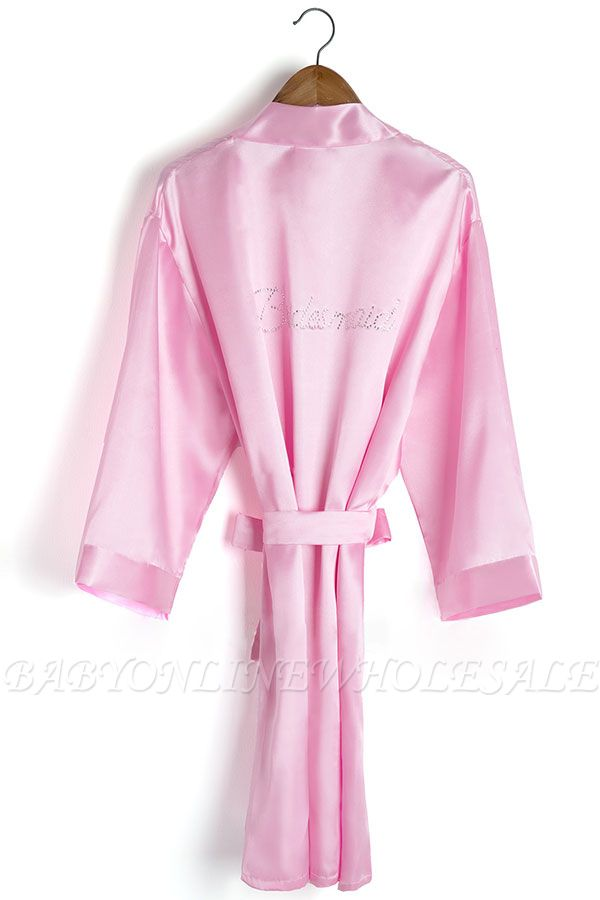Drover | Personalized Rhinestone Silk Satin Bridal Wedding Bridesmaid Kimono Dressing Gown Robe