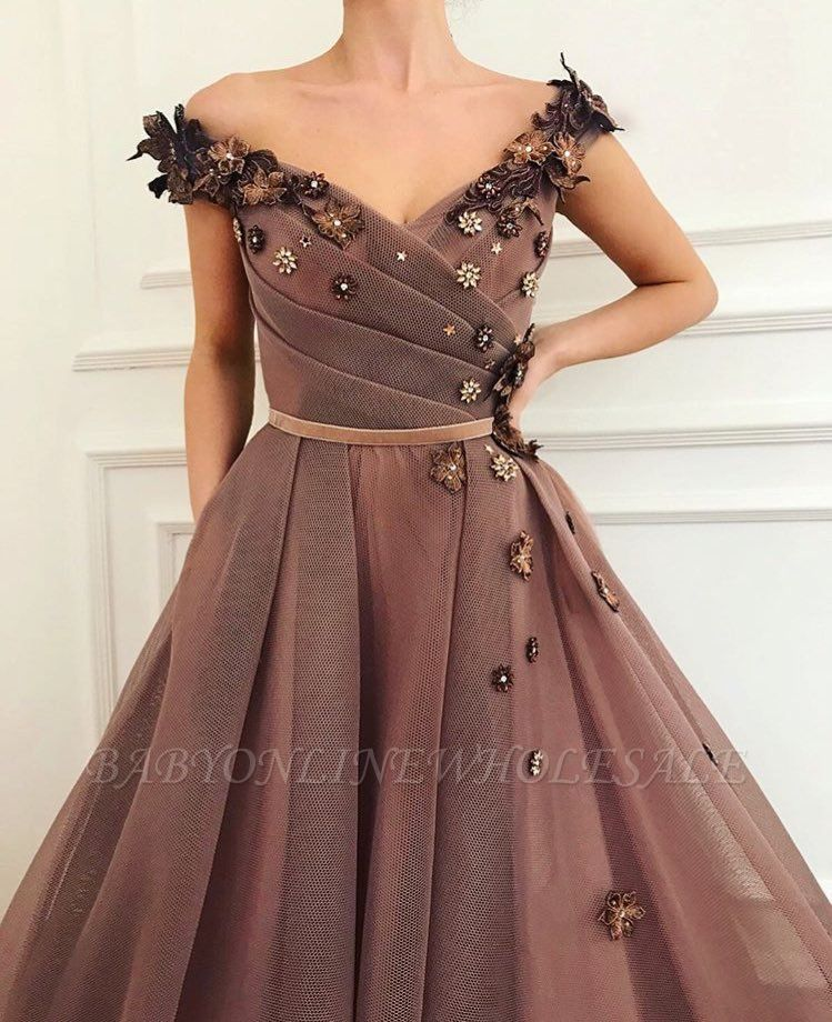 Stunning Brown Prom Dress | V-Neck Ball Gown Evening Gowns
