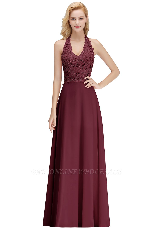 Sexy Halter Backless, Burgundy, Navy, Pink, Silver Sleeveless Princess Formal Dress