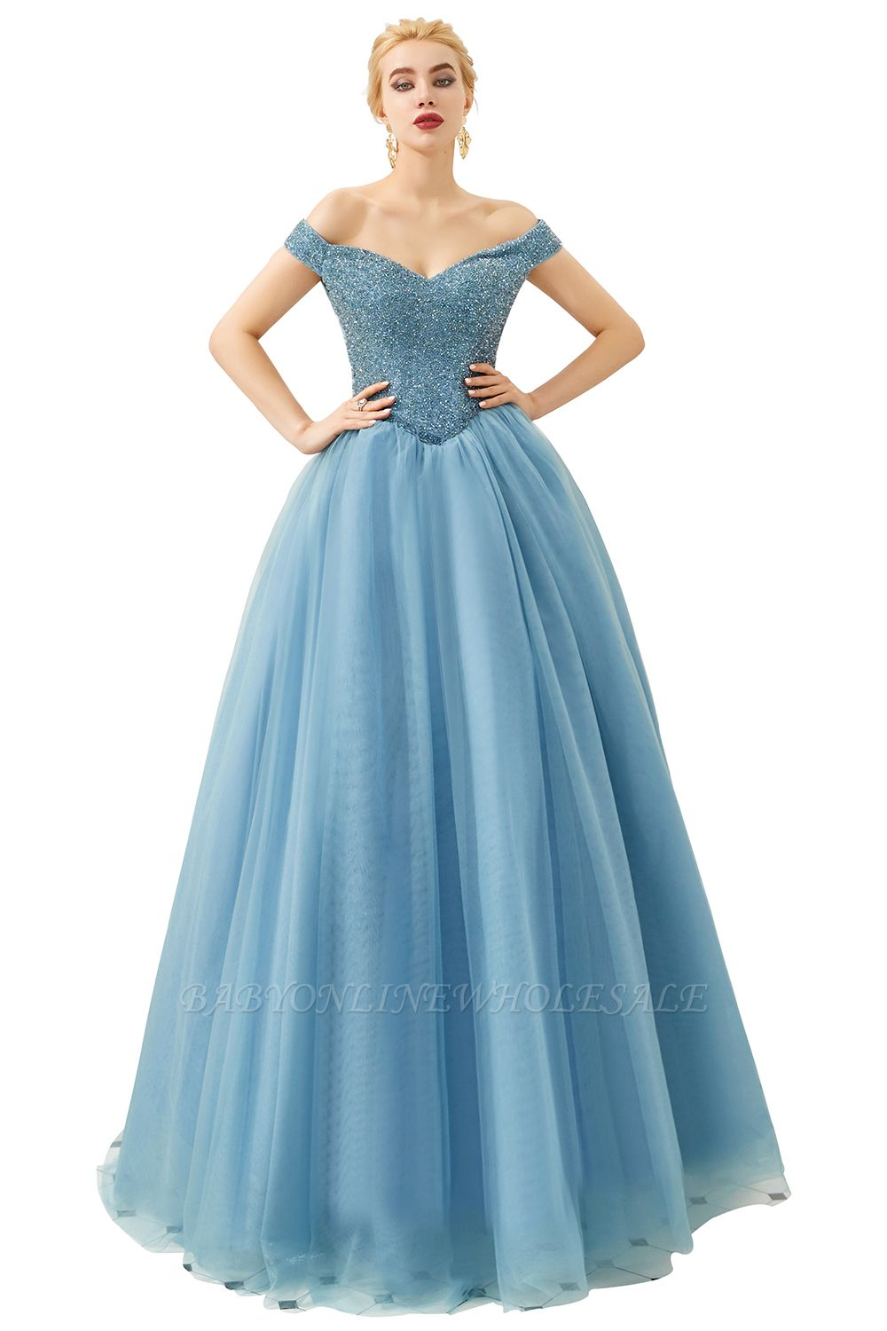 Harry   Elegant Emerald green Off-the-shoulder Ball Gown Dress for Prom/Evening