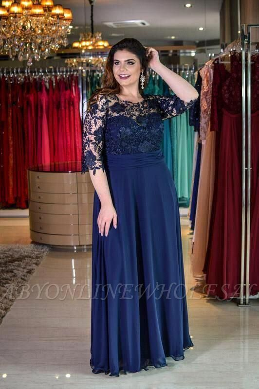 Plus size Half Sleeves Navy Blue Mother of bride Dress | Modest Round neck Lace Bridesmaid Dress for Summer Wedding