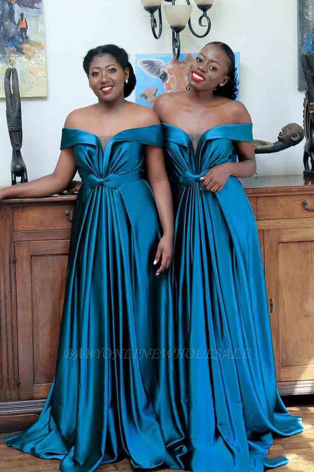 Sexy New Off-shoulder Sweep Train Bridesmaid Dresses With Bow Belt | Long Blue Wedding Party Dresses