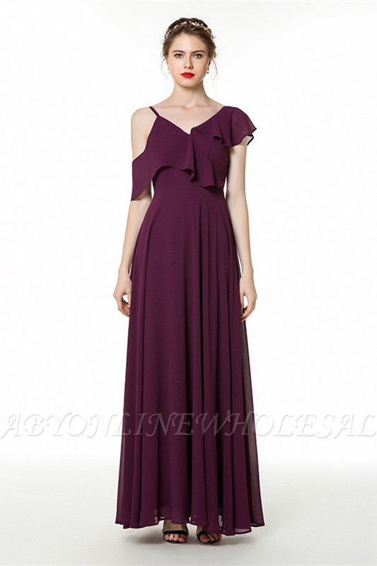 Emmi | Grape Off the shoulder Asymmetric Bridesmaid Dress with Flounce