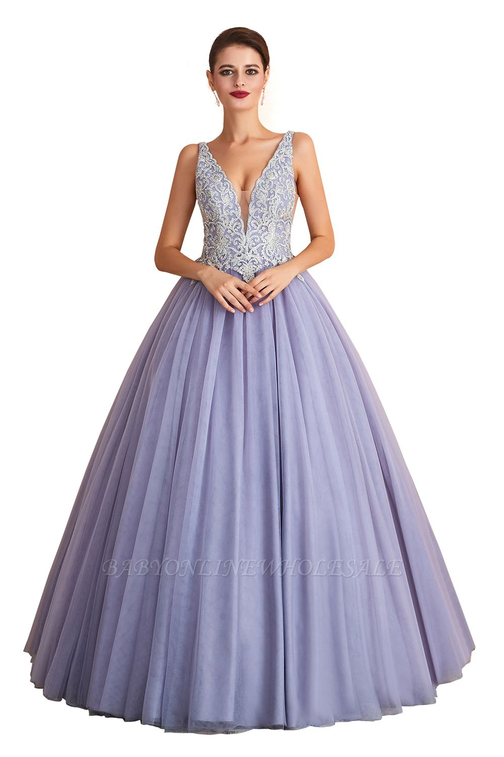 Cerelia | Elegant Princess V-neck Ball gown Lavender Prom Dress with Appliques, Deep V-neck Evening Gowns with Pleats