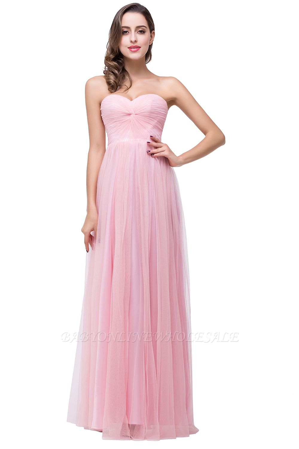 ADRIANNA | A-line Sweetheart Tulle Bridesmaid Dress with Draped