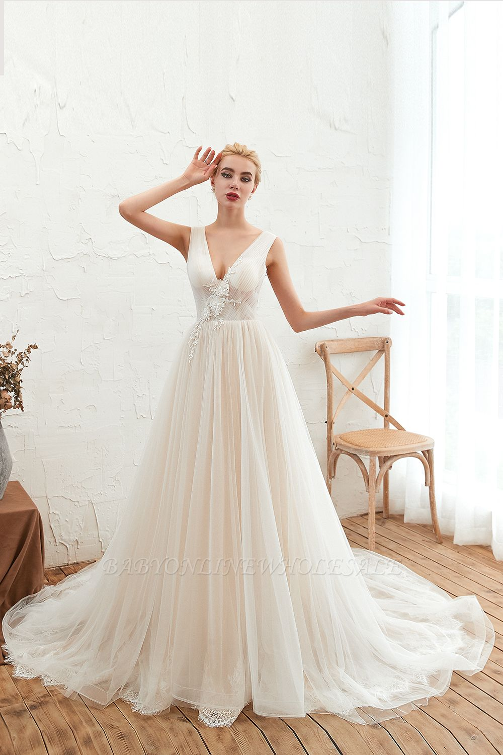 Champange Princess Tulle Wedding Dress with Soft Pleats | Sexy V-neck Low Back Bridal Gowns with Lace Appliques