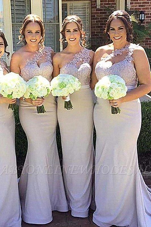 Robes de demoiselle d'honneur élégante sirène | Une épaule dentelle longues robes de soirée de mariage