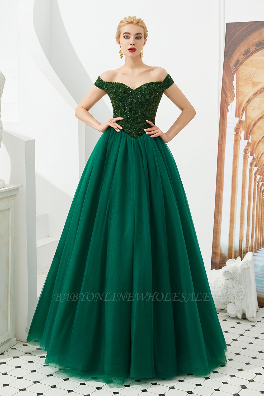 Harry | Elegant Emerald green Off-the-shoulder Ball Gown Dress for Prom/Evening
