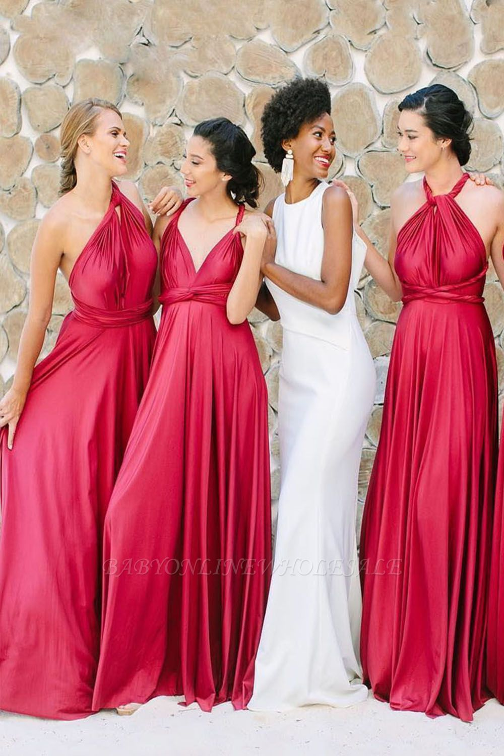 Irregular Shoulder Strap Changeable Style Bridesmaid Dresses | Long Backless Wedding Party Dresses With Sweep Train