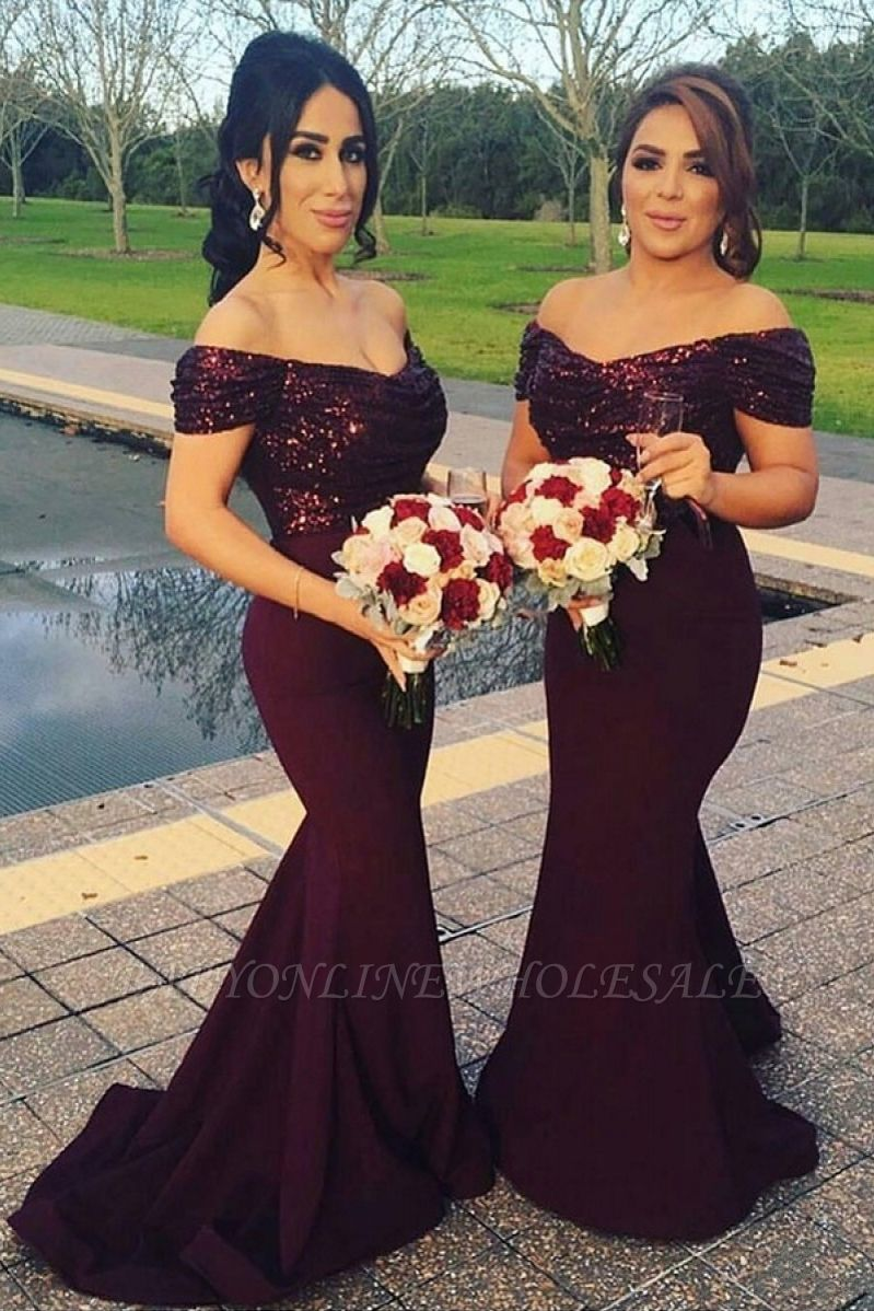 Off-The-Shoulder Sequins Long Mermaid Short Sleeves Prom Dress