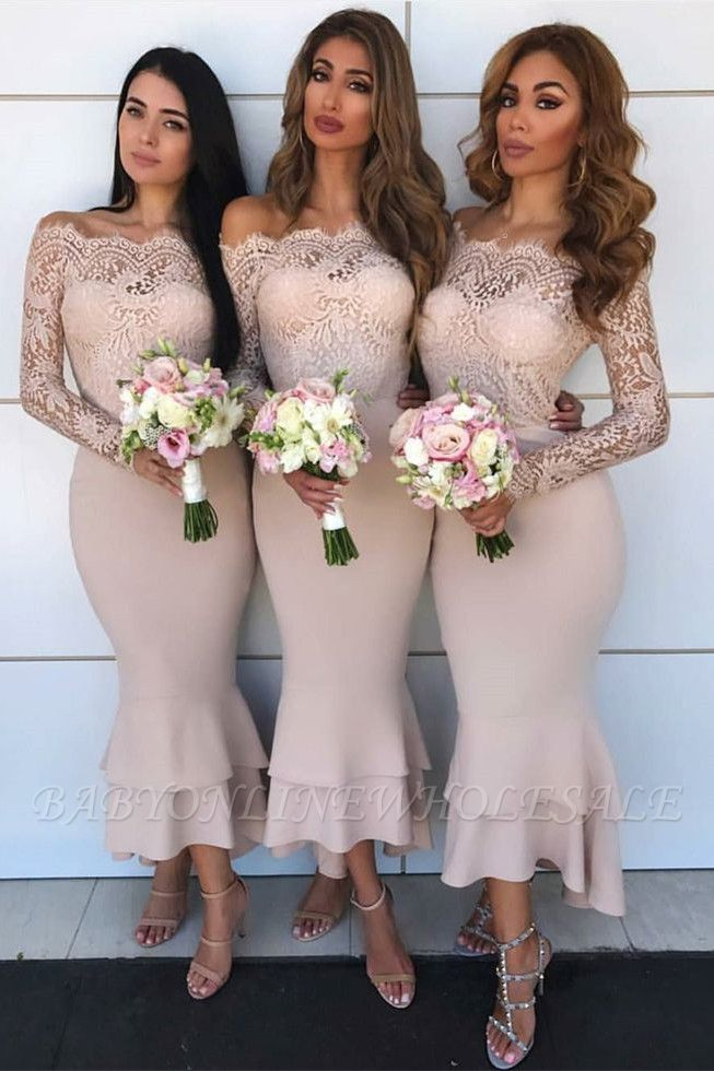 Long Sleeve Lace Bridesmaid Dresses Affordable | Short Sheath Ruffles Trumpet Formal Evening Dress