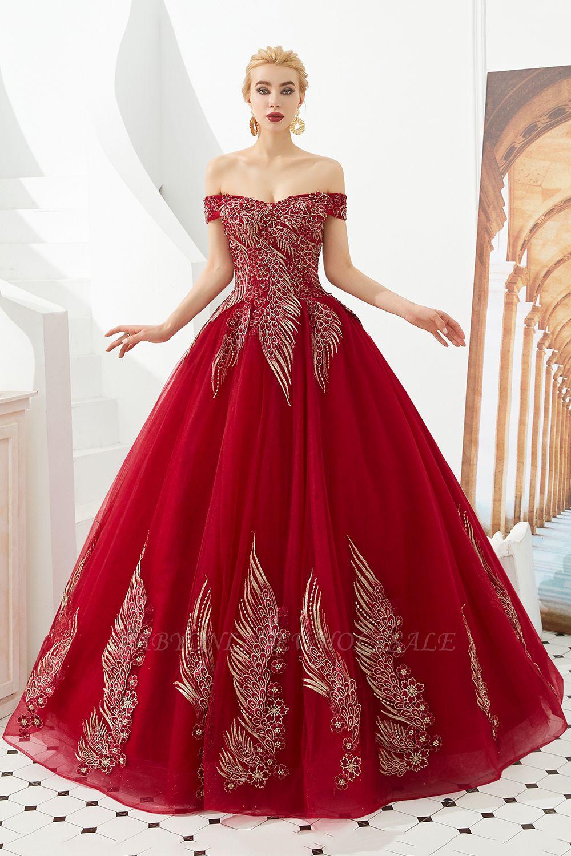 Генри | Элегантное красное плечевое платье принцессы с открытыми плечами и вышивкой с крылышками