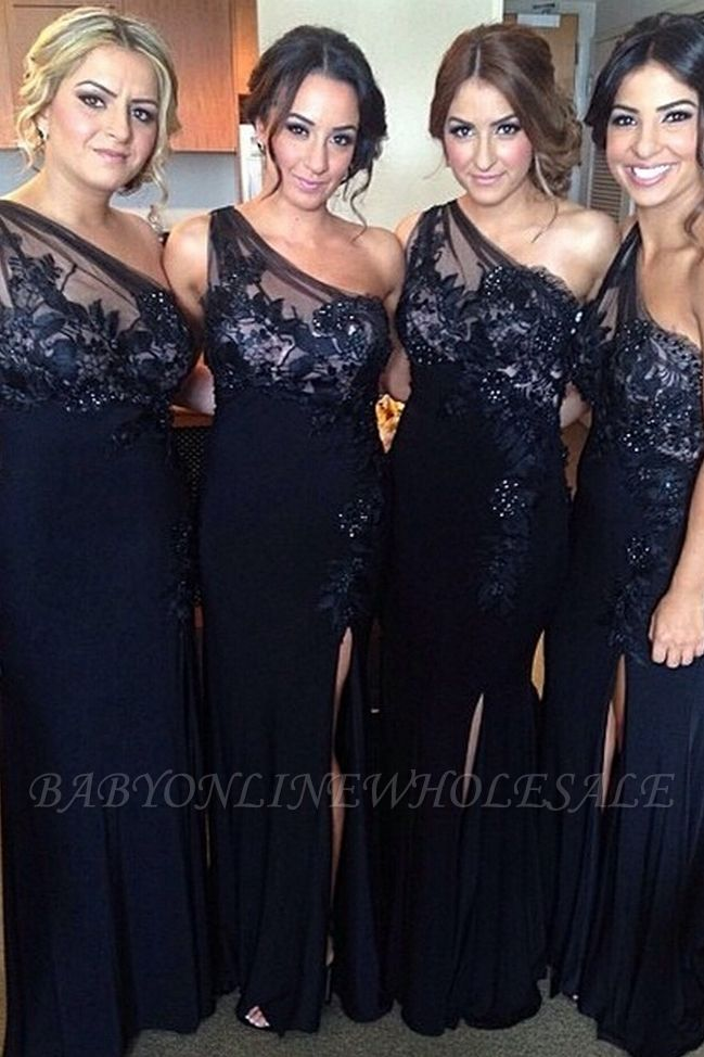 One-Shoulder Sheath-Column Floor-length Appiques Split-Front Bridesmaid Dresses