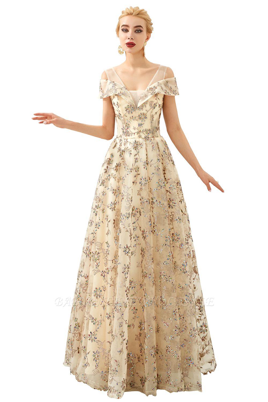Herbert | Élégante robe de bal d'épaule doré à épaules dénudées avec de délicats appliqués multicolores en dentelle