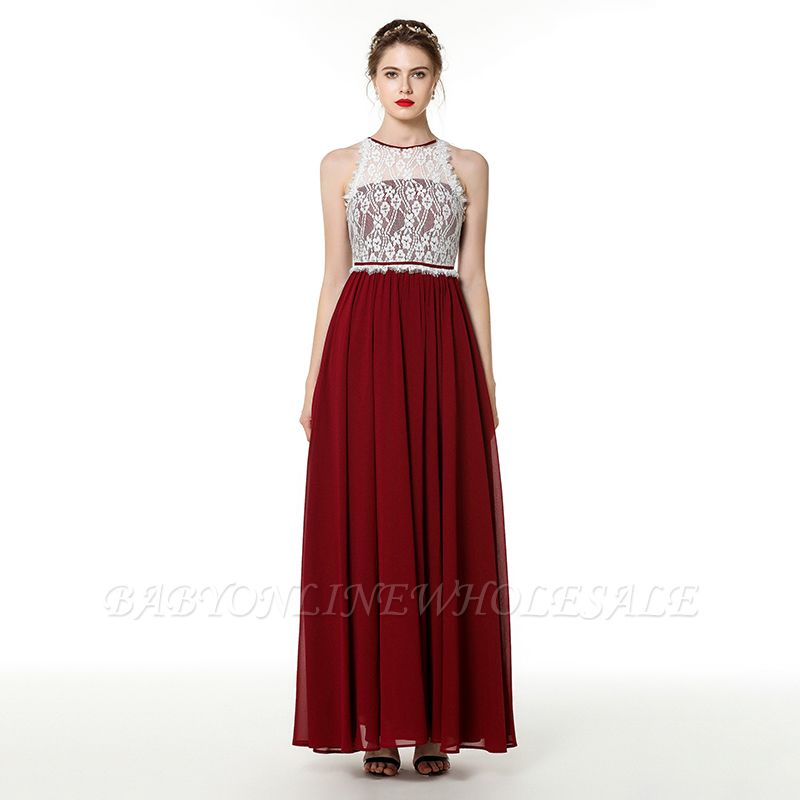 Trendy two-toned High neck Burgundy Formal Dress with soft pleats   High neck white lace Evening Dress