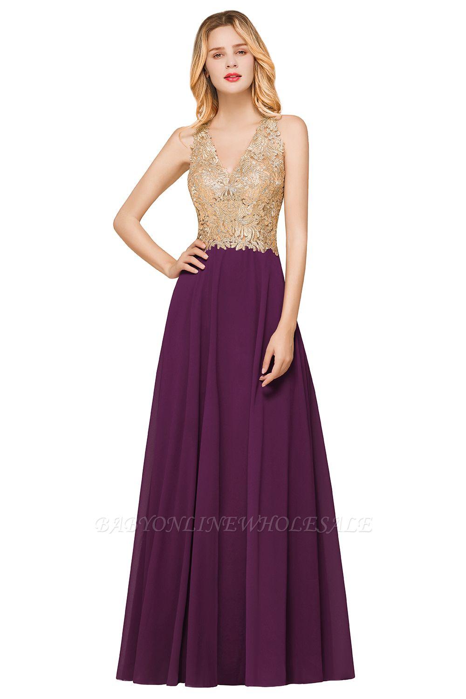 Gorgeous V-neck Sleeveless Burgundy Evening Dress   Formal Dress for Sale