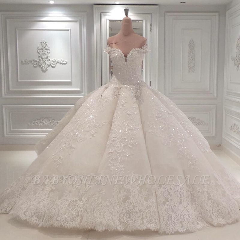 Luxurious Shinning Crystal Sweetheart Off The shoulder Long Wedding Dresses| Cheap Sleeveless Bridal Gown With Long Train