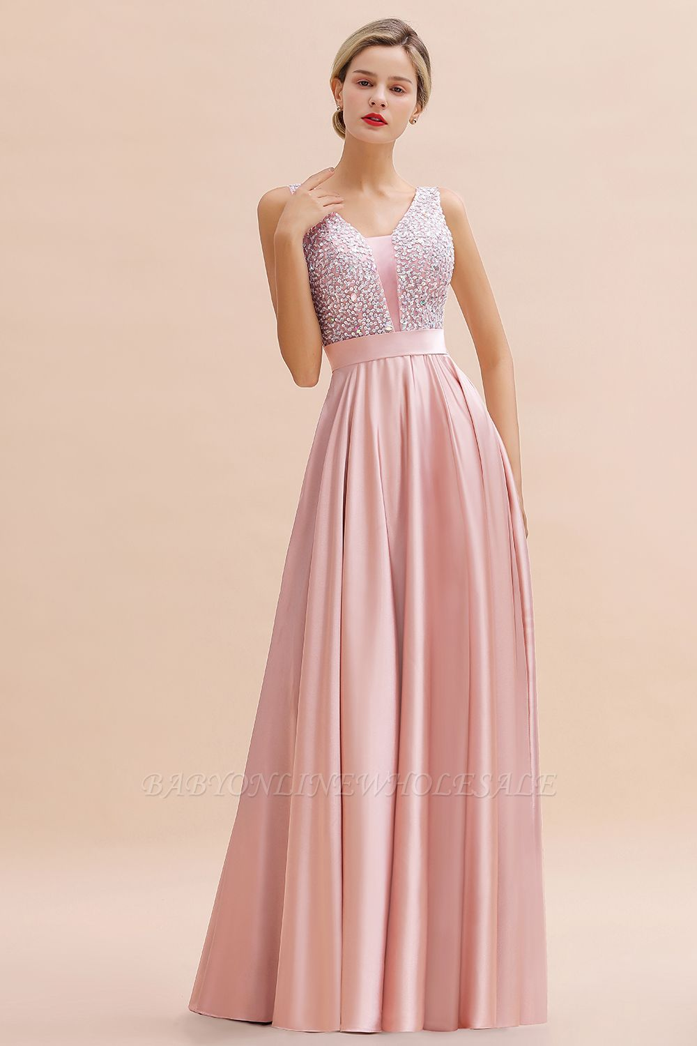 Arik | Simple Pearl pink Sequined Belt Pleats Long Prom Dress