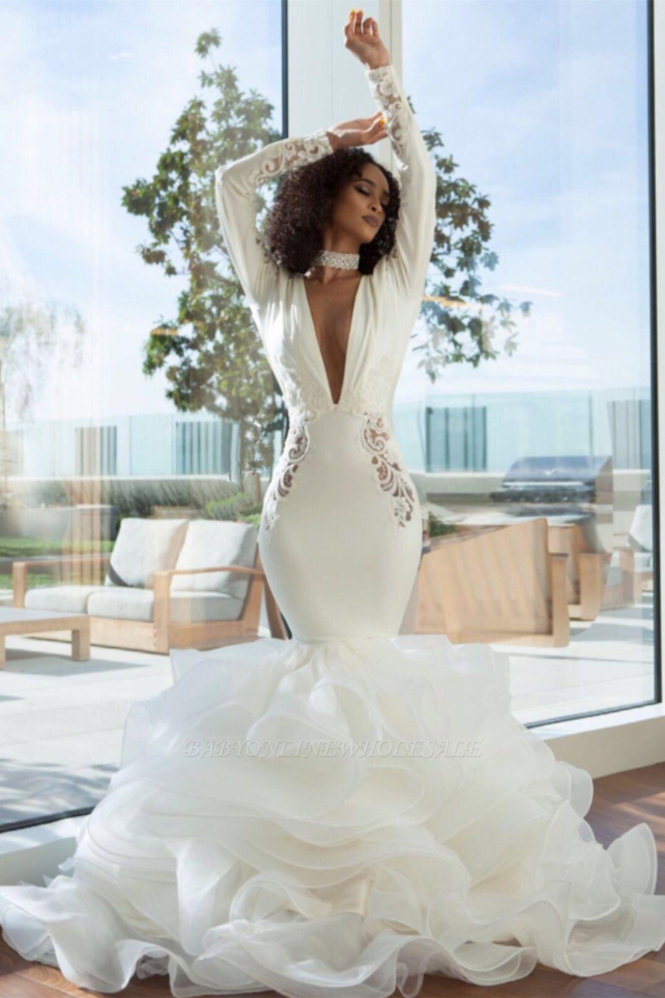 Sexy sereia profundo decote em v estiramento de cetim e organza empilhada furada volta vestidos de noiva com apliques de renda | Vestidos de noiva baratos até o chão