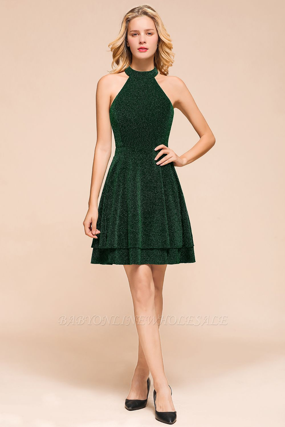 Arlene | Trendy Emerald Ruffles Open back Homecoming Dress