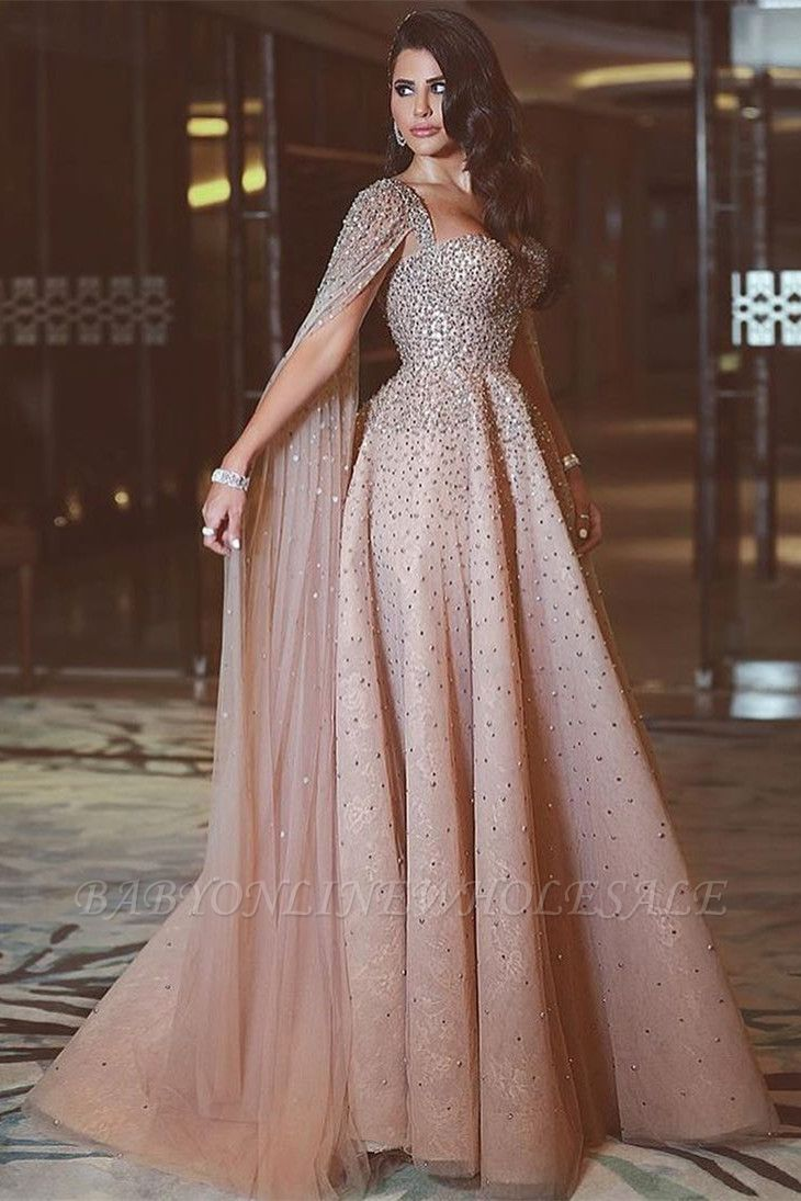 Sparkly Sequin Long Crystals Long Tulle Prom Dresses