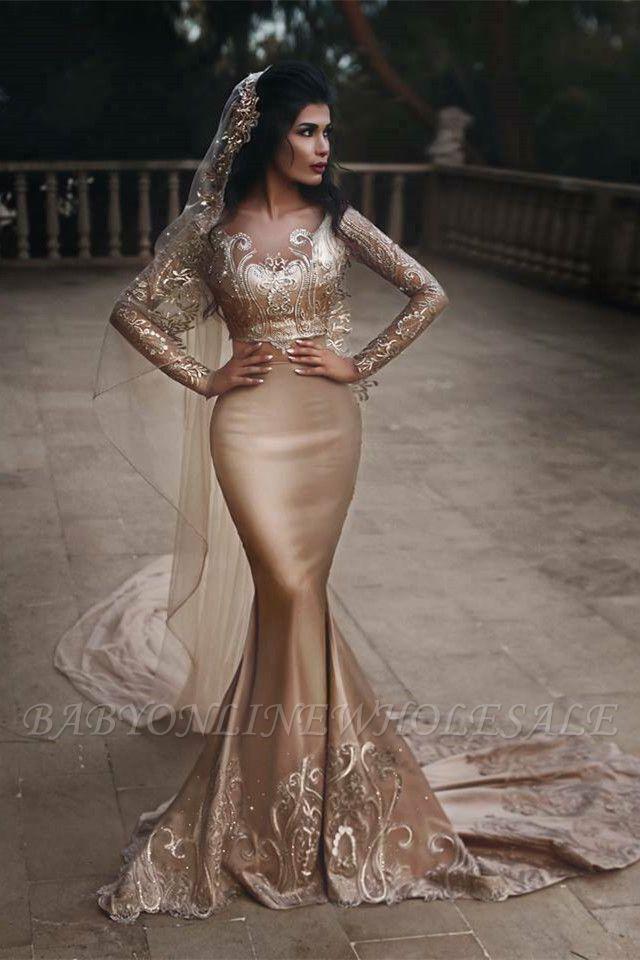 Luxuriöse zweiteilige Meerjungfrau Champagner Brautkleider Mit Spitze Appiques Und Perlen | Günstige Long Sleeves Brautkleider zum Verkauf