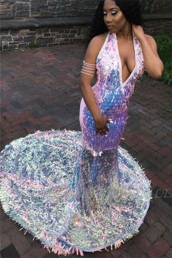 Shinny Halter Pescoço V escala de peixe lantejoulas sereia Sweep trem vestidos de baile