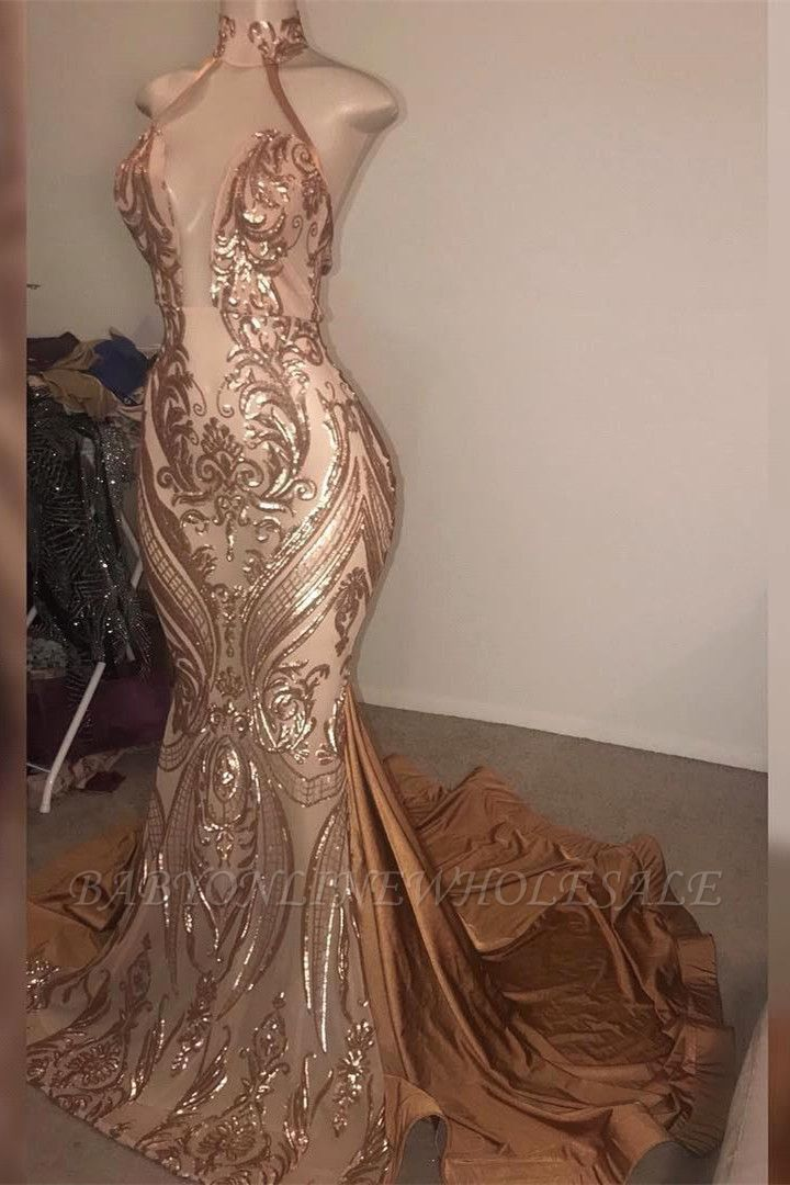 Gorgeous High neck Golden Mermaid Long Prom Dress Real Model Series