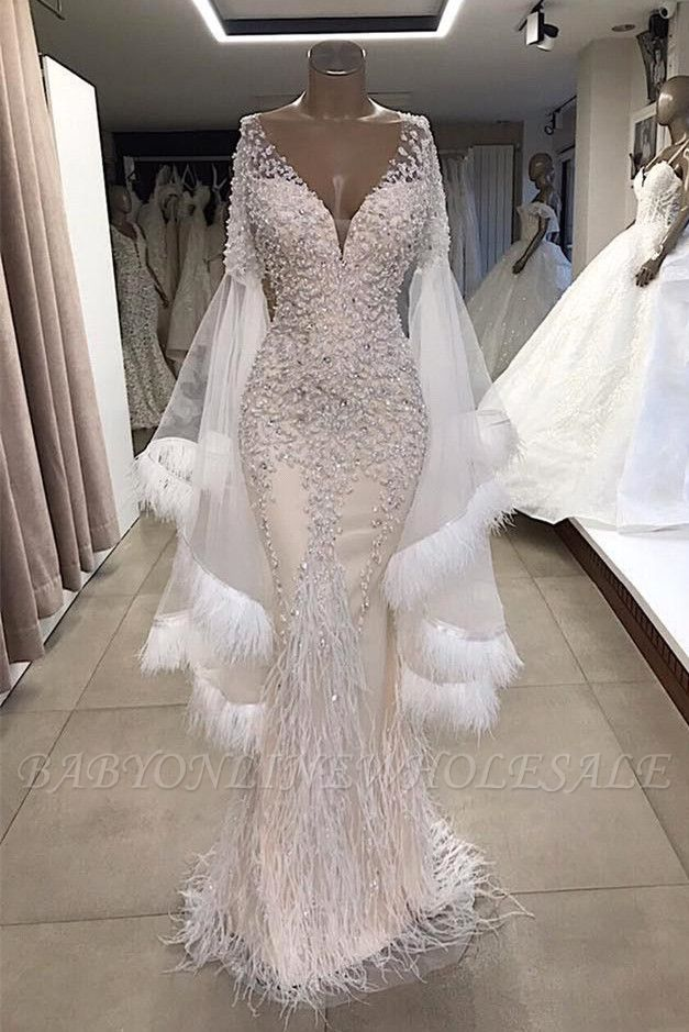 Luxurious Mermaid V Neck Long Sleeves Crystal Floor Length Prom Dresses With Tassels | Cheap Beading Evening Gowns