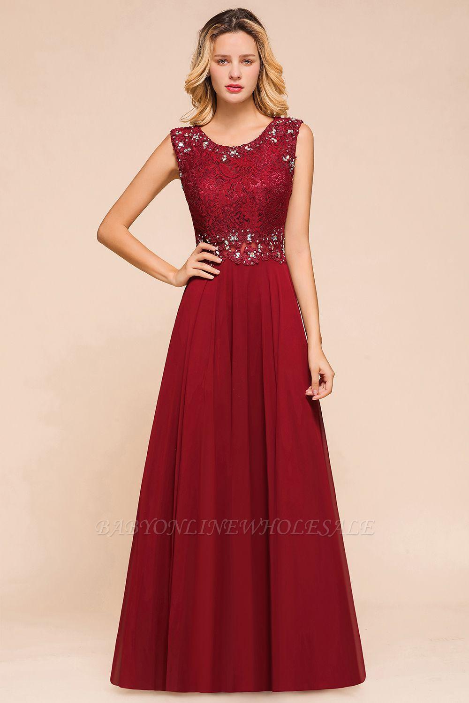 Arla | Trendy Round neck Beaded Burgundy Lace Bridesmaid Dress with Belt