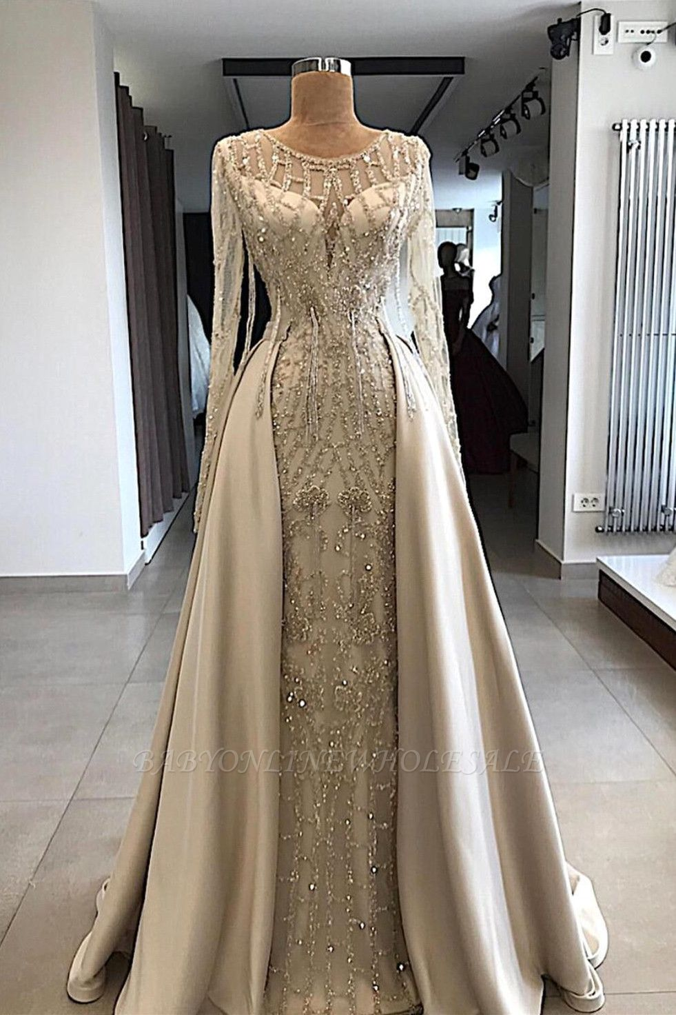 Shining Beaded Long Sleeves Round Neck Prom Dresses With Over Skirt | A Line Evening Gowns
