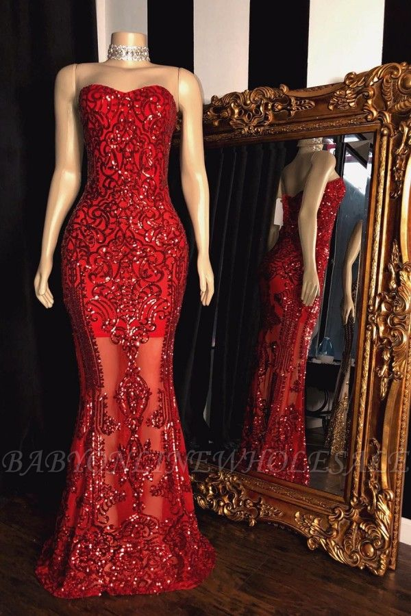 Sweetheart Strapless Sequins Pattern Long Mermaid Prom Gowns