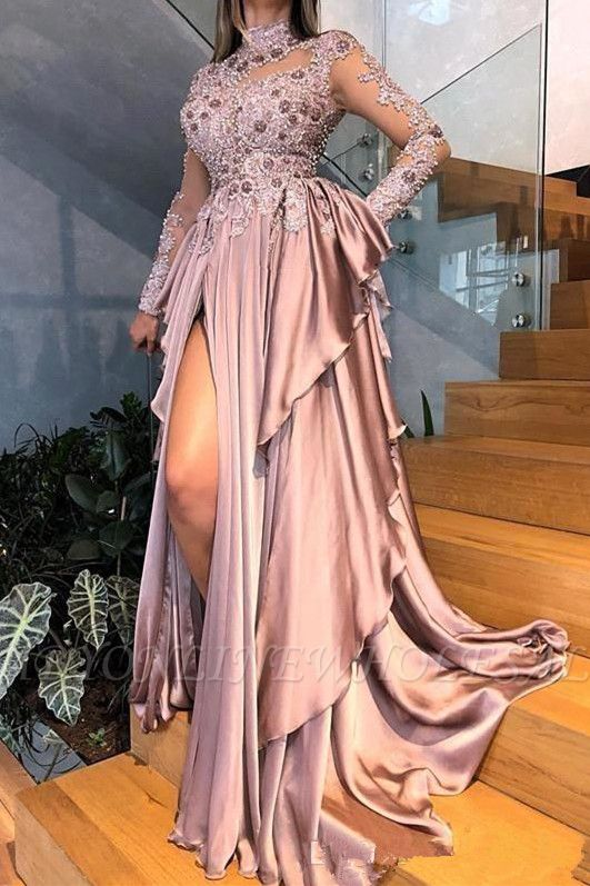 Graceful High Neck Lace Appliqued Prom Dresses With Split | Cheap See Through Evening Gowns