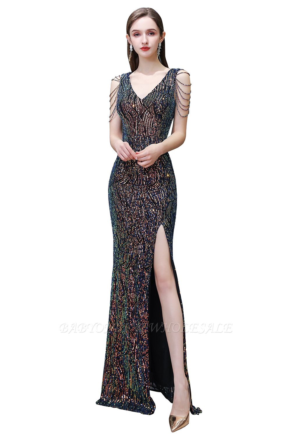 Sparkle V-neck High split Sleeveless Black Evening Dress Online