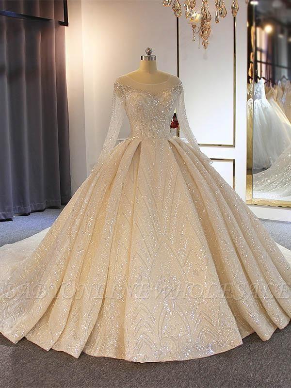 Wunderschöne glänzende Pailletten transparente Tüll Brautkleider   Perlen Langarm Bal Kleid Brautkleider Online