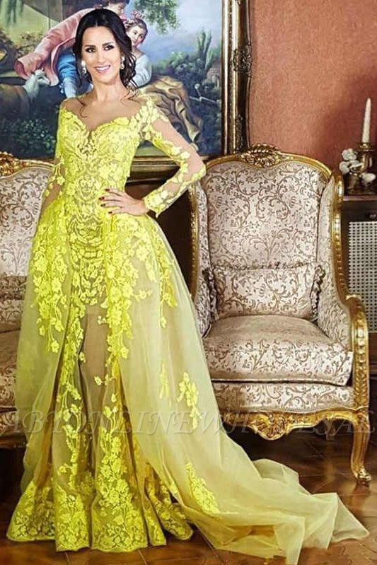 Elegant Lace Long Sleeves Sweetheart Party Dresses With Detachable Skirt   Yellow Tulle Evening Gowns