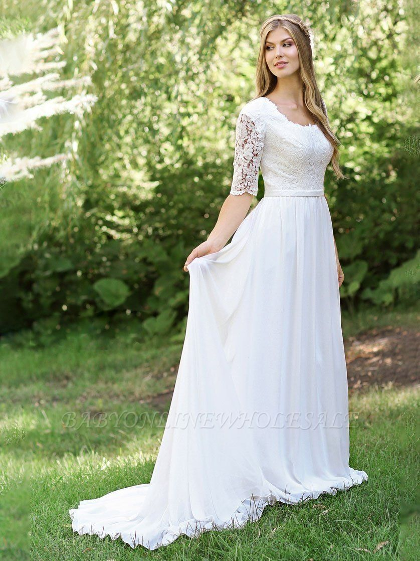 A-line Lace Short Sleeve Wedding Dresses   Tulle Pleated Cheap Bridal Gowns